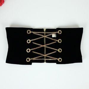 Makers of Dreams Black Velvet Chain Bustier Belt